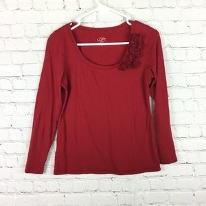Ann Taylor LOFT red long sleeve petite small